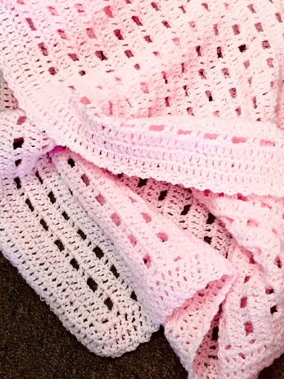 crochet baby afghan blanket pink handmade car seat cover Amish made Bernat baby yarn