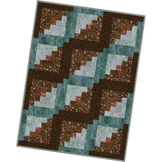 Pre Cut Quilt Kit by Maywood Studio 12 Block Log Cabin Quilt Pioneer Spirit POD MAS02 PIS