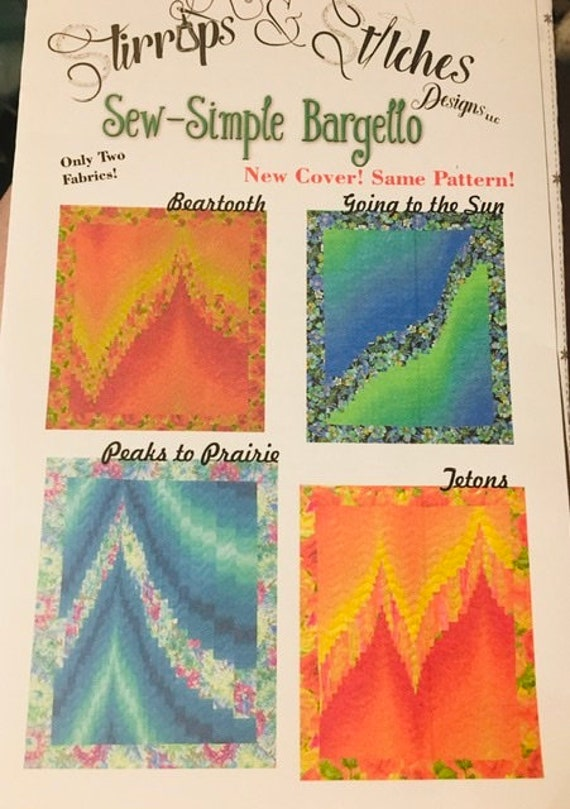 Two Fabric Bargello Pattern Sew Simple Easy Quilt Pattern Ombré fabric By Claire Webber