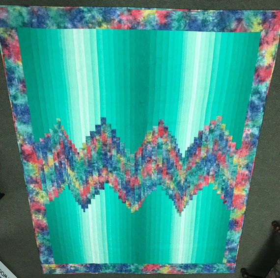 Batik Bargello Green Rainbow Colorful Artwork in a Quilt Heirloom