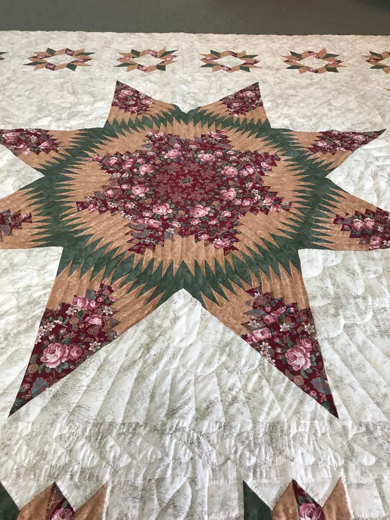 Pineapple Star Quilt Hand Quilted Amish Made 101x101