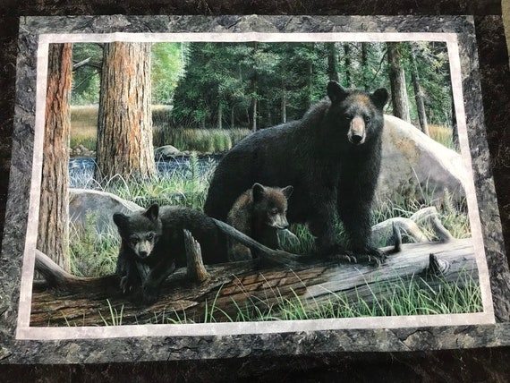 Black Bear & Cubs Mama Bear Quilt Top Northcott Panel