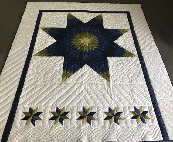 Lonestar Pillowtop Quilt Handmade Amish Made Hand Quilted Blue Green White Heirloom Queen/King