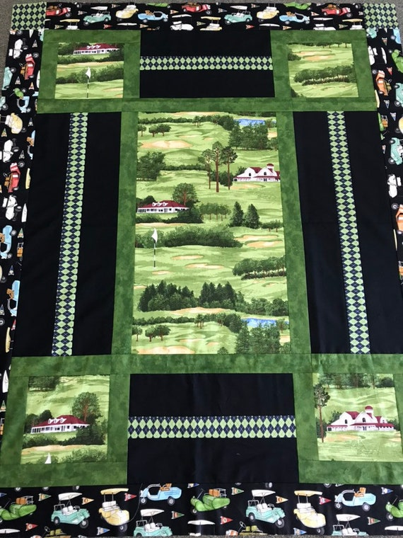 "Golf Quilt Kit ""Tee Time""  for the Golf Lover rare, fabric out of print"