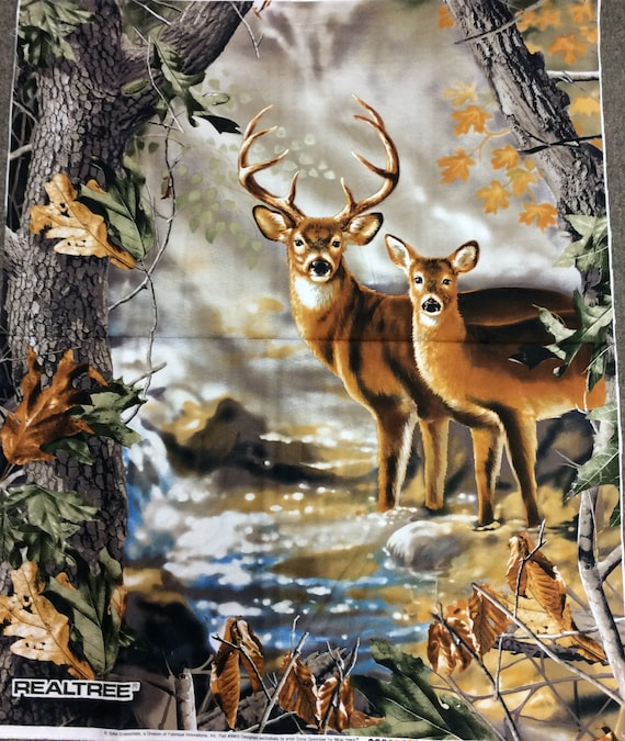 "36"" X 44"" Panel Realtree Deer Buck Doe Outdoors Wildlife Hunting Hunters Trees Leaves Fall Autumn Cotton Fabric Pane"