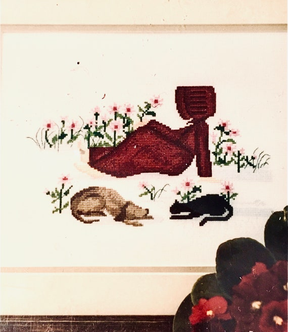 Time out crosstitch counted Diane Graebner DGX-048 Amish girl cats rare out of print Lynn's Prints