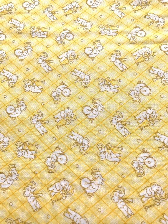 Vintage 30's Depression Feedsack Nana Mae Reproduction Henry Glass Yellow Elephants Kids Animals Pastel Nostalgic Toys