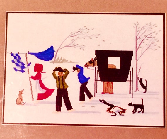 cross stitch counted embroidery Diane Graebner design Windy Day DG 13 Amish buggy kids cats dogs