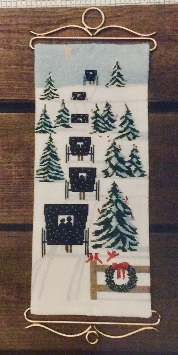 Christmas Eve Amish Buggy counted crosstitch embroidery Diane Graebner pattern rare OOP buggies in snow