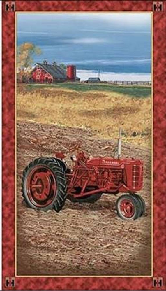 Quilting Treasures Farmall Tractor Fabric Barn Panel Farming Country Side