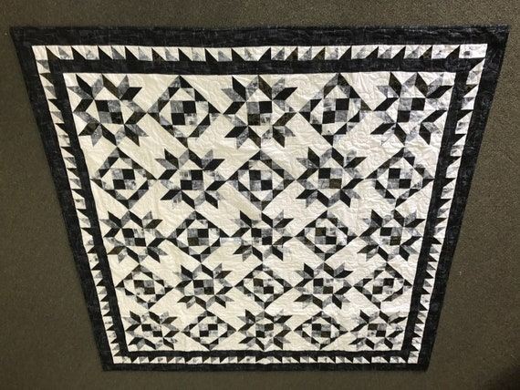 Modern Stars & Squares Black White Grey 74x74