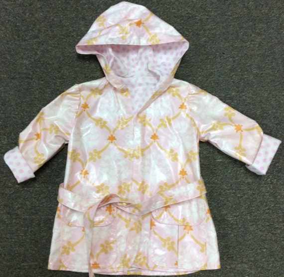 "On SALE!  Reversible Pink Hooded Raincoat Made with Amy Butler pattern ""little splashes"" And fabric from Love collection."