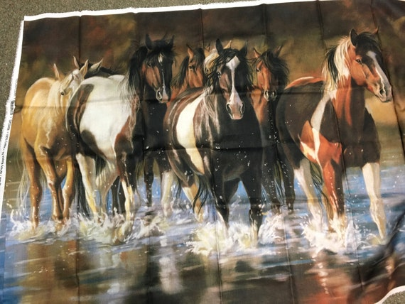 Horses mustangs unbridled Northcott panel