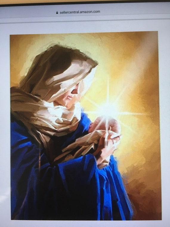 Madonna Virgin Mary panel religious christmas nativity