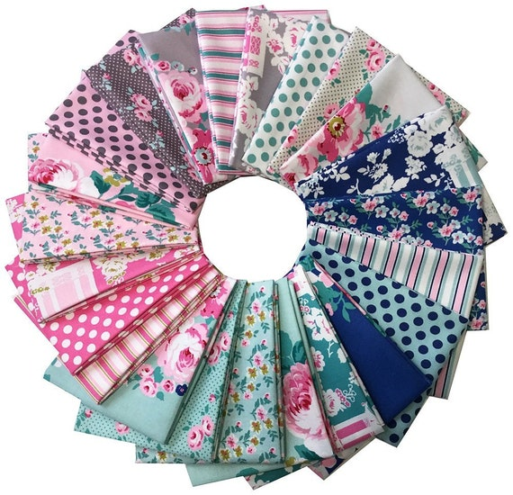 Tonya Whelan -Gazebo 23 Piece Fat Quarter Pinks Blues Floral Shabby Sheek look Fabric Assortment Free Spirit FB1FQTW.Q417X