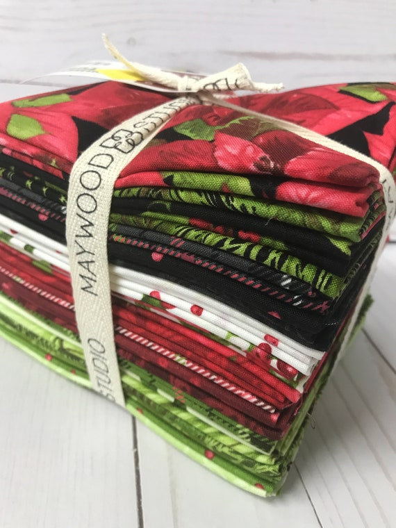 Maywood Studio Christmas Fat Quarters Poinsettia Pine set of 25 Holiday Collection