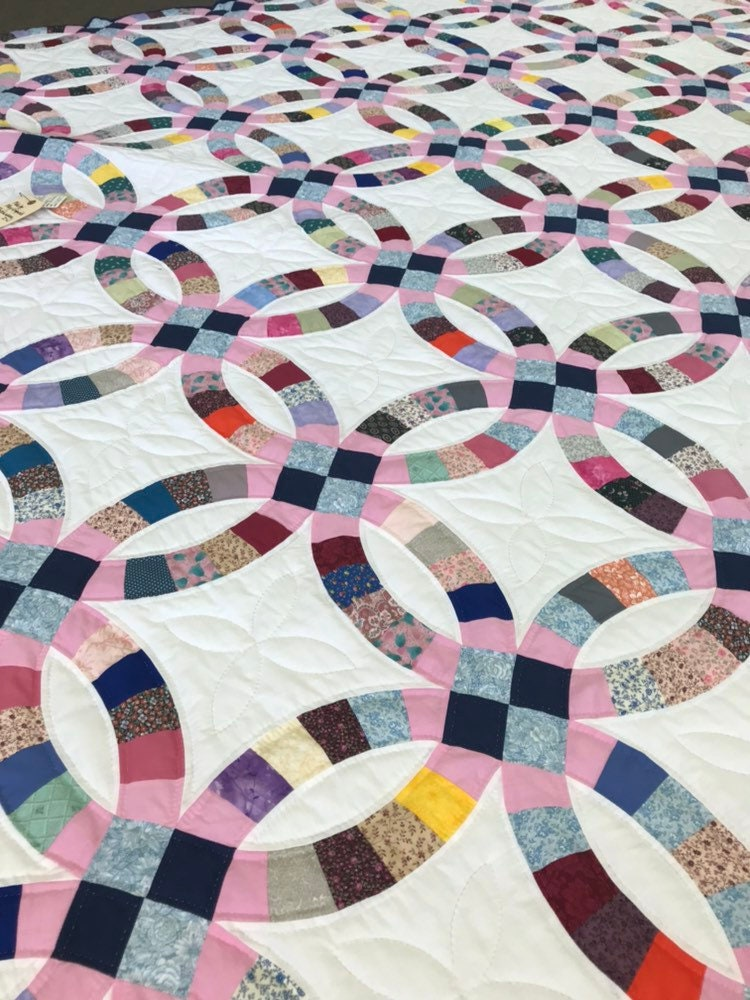 Double Wedding Ring Quilt.Double Wedding Ring Quilt King Queen Amish Made Hand