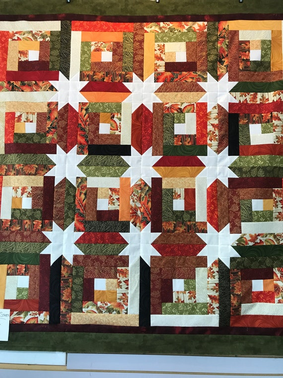 Log Cabin Hidden Stars Quilt Kit Fall Colors Autumn Just One Etsy