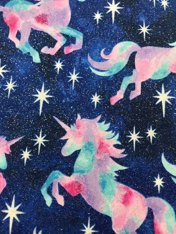Novelty Prints Unicorn Tie Die Glitter Navy Blue 100% Cotton 44in