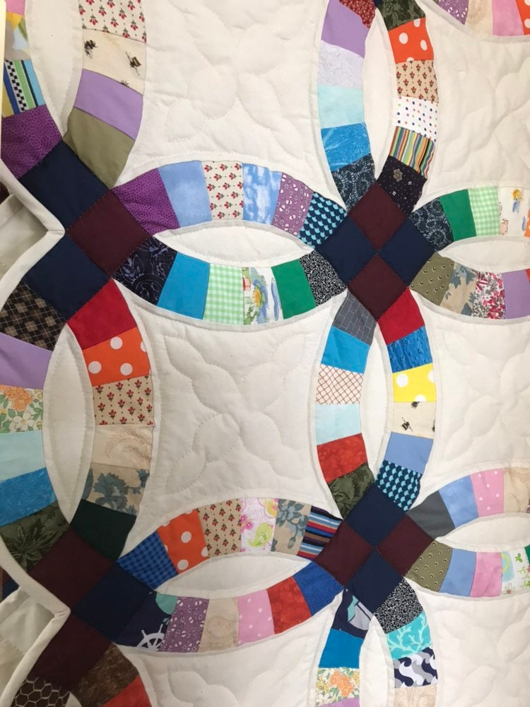 On Sale Double Wedding Ring Quilt Handmade Amish Quilt