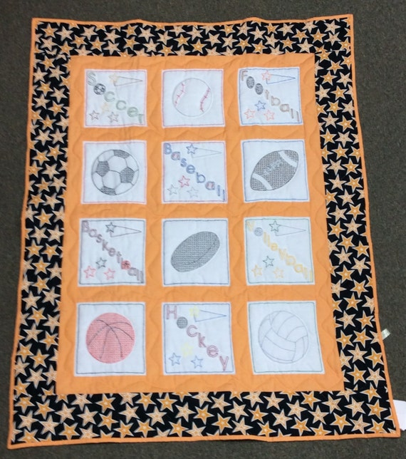 Sports Baby Quilt Hand Embroidered Football Orange Black