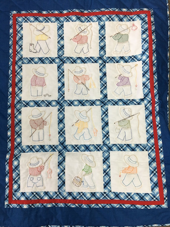Overall Bill Amish made handmade crib quilt hand stitched hand embroidered denim blue