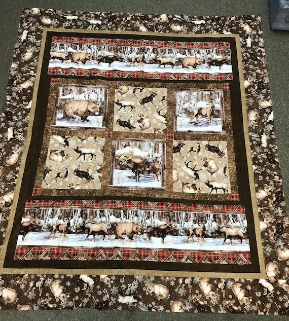 FREE shipping!  Northcott Northern Woods Elk Bear Quilt Top Brown Snow Woods by Northcott Outdoors Hunting