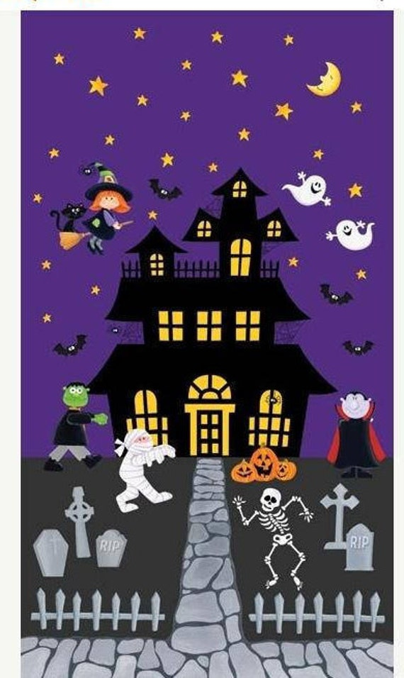 Happy Haunting Fabric Panel by Northcott Halloween Fabric Panel Haunted House