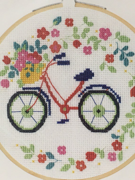 DMC Bicycle embroidery cross stitch kit small with wooden hoop and thread