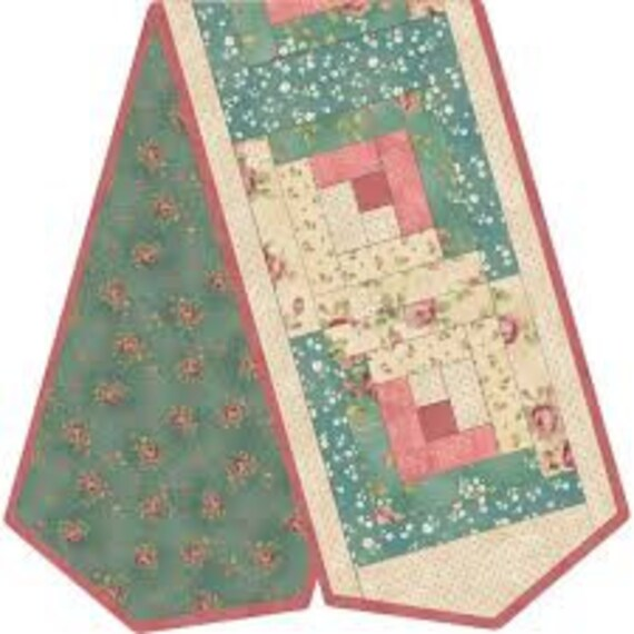 Pink and Green Maywood Studio Log Cabin Table Runner Kit