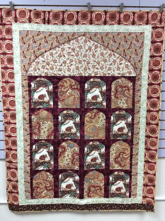 On SALE!  Bombay India Quilt Mumbai Culture 50 X 65 Reds Elephant Quilt Handmade