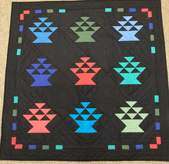 Amish Basket Quilt Handmade Hand Quilted Wall Hanging or Lap Quilt 42x42