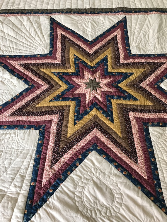 Log Cabin Star Amish Hand Quilted Queen/King