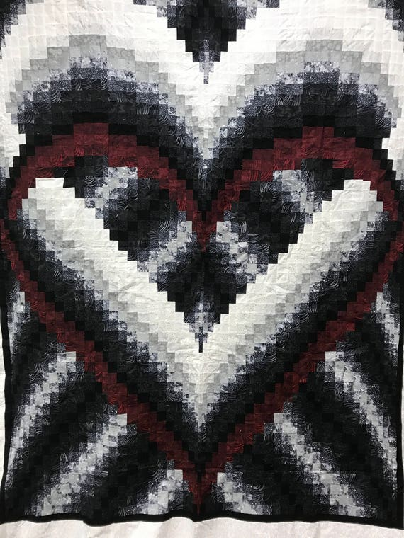 Heart Bargello Quilt Top for a 116x103 Quilt Red Black Heart