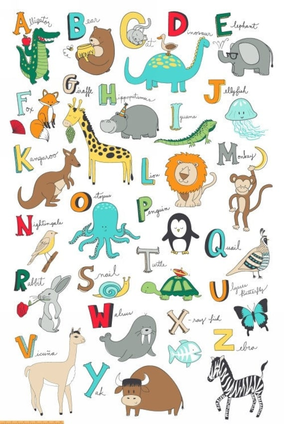 Animal ABC's Super Panel 47x70 use for Quilt or other Fun Projects