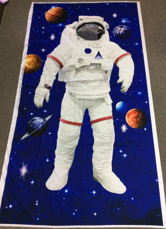 Astronaut Panel Space Walk by Northcott Outer Space Fabric Panel Planets