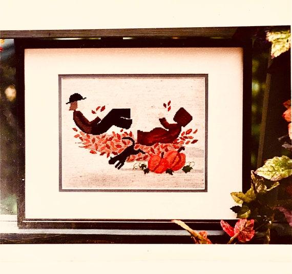 counted crosstitch embroidery pattern Diane Graebner design Leaf Pile DGX-089 Amish children autumn cats pumpkins leaves