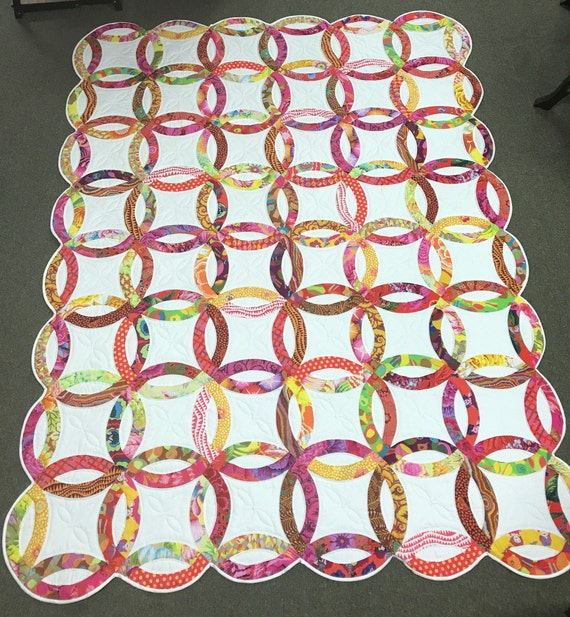 Kaffe Fassett Amy Butler Double Wedding Ring Hand Quilted Quilt Top or Finished Quilt