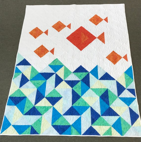Little Fishies Quilt Modern Throw 55x76 Turquoise Orange White