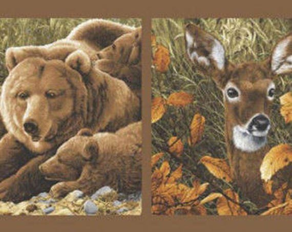 Andover Fabrics Brown Bear Deer Fabric Panel Wildlife Outdoors 24""