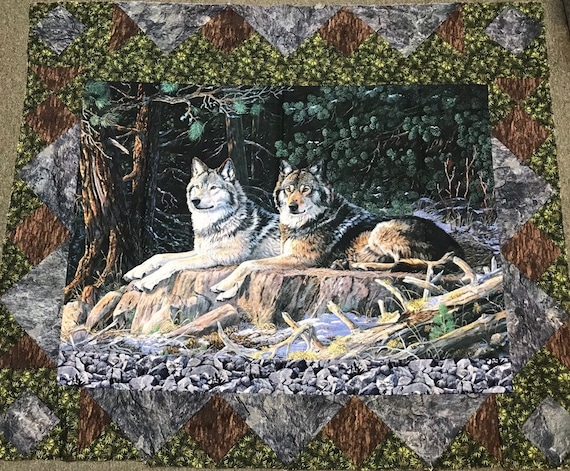 Quilt Top Resting Point Wolves by Northcott out of print