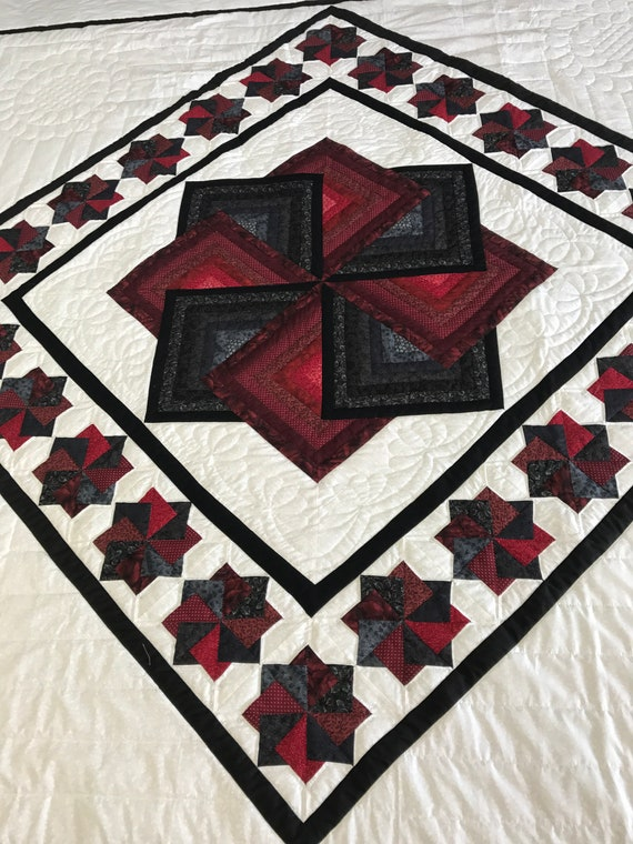 Star Spin King Quilt Top or Quilt Black Red Hand Quilted Amish Made Handmade White