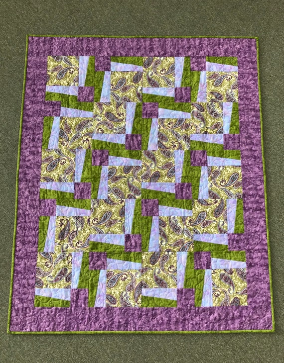 Paisley Purple and Green Quilt
