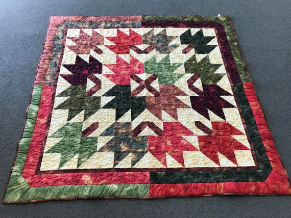 ON SALE!  Amish made, Hand Quilted Shades of Autumn Quilt 66x68  Fall Colors Red Browns Yellow
