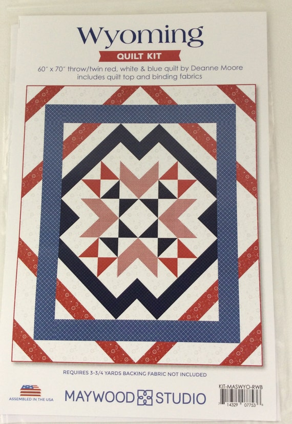 Wyoming Quilt Kit 60x70 Throw/Twin Red White Blue Quilt Kit Pre Cut Quilt Kit Includes Quilt Top and Binding Fabrics