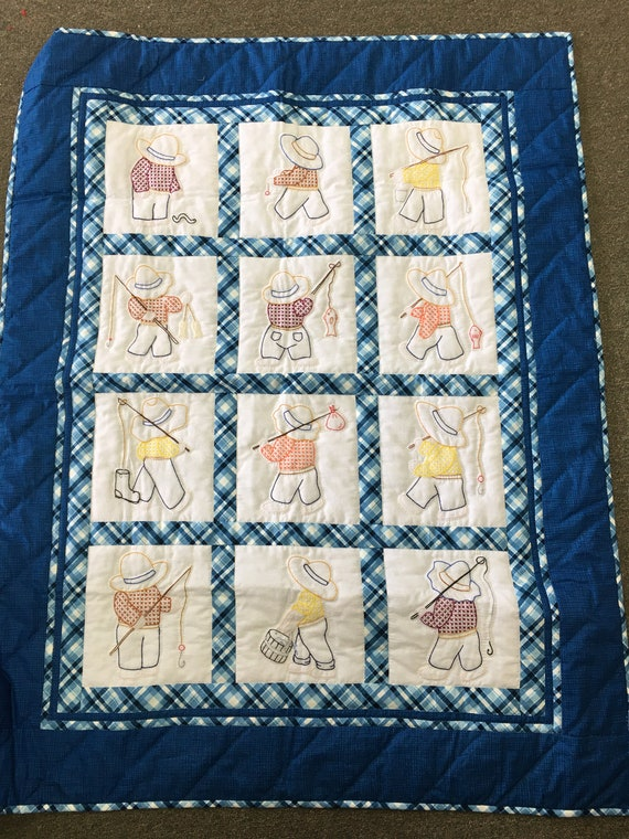 Overall Bill Amish made baby quilt hand quilted hand embroidered