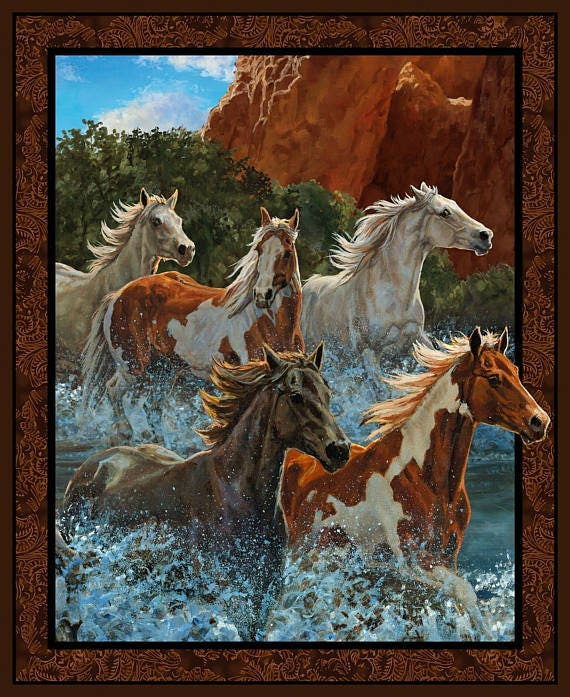 Rivers Edge Horses Panel by Wild Wings