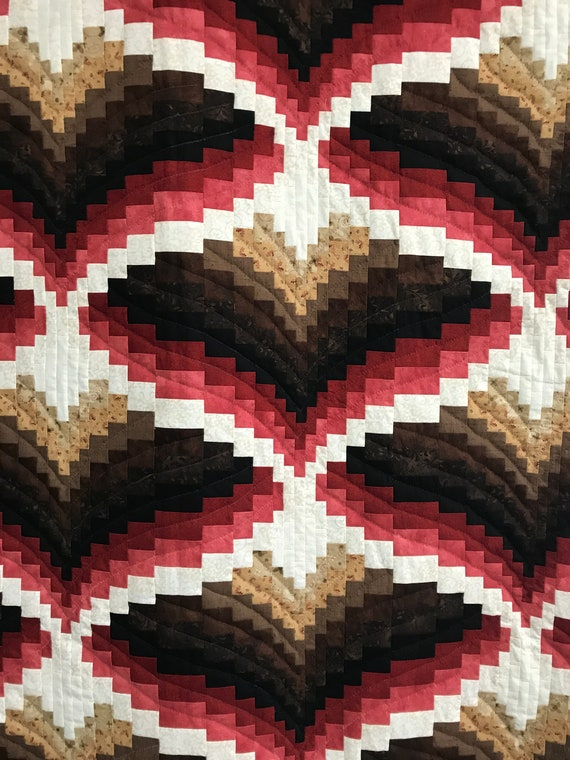 ON SALE Bargello Quilt Amish made and hand quilted Snow on the Mountain