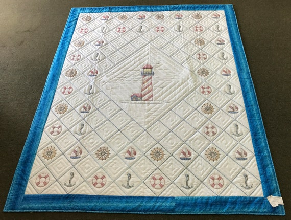 Hand Embroidered Lighthouse Quilt Size 76x94 Hand Quilted Anchor Sailboat