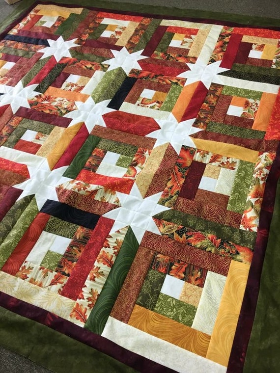 Log Cabin Hidden Stars Quilt Kit Fall Colors Autumn Just one Jelly Roll pattern